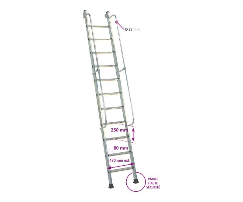 Echelles meuni res passerelles alu et passerelle m tallique for Profondeur marche escalier standard
